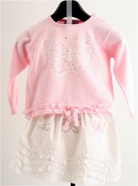 Immagine di Completo Gonna bianca e rosa