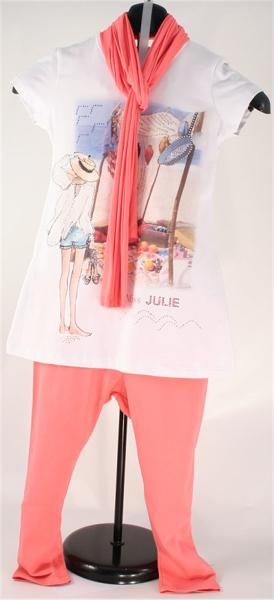Immagine di Completo ragazza leggings rosa geranio