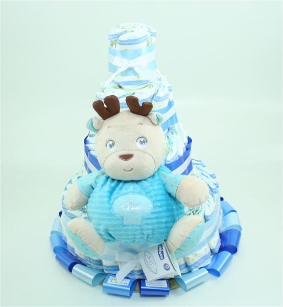 Immagine di Torta di Pannolini 4 PIANI Renna Azzurra