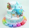 Immagine di Torta di Pannolini 3 Piani Multicolor Gufo